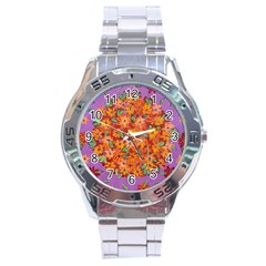Floral Sphere Stainless Steel Analogue Watch by dawnsiegler