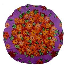 Floral Sphere Large 18  Premium Flano Round Cushions by dawnsiegler
