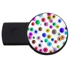 Colorful Concentric Circles              Usb Flash Drive Round (4 Gb) by LalyLauraFLM