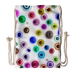 Colorful Concentric Circles              Large Drawstring Bag by LalyLauraFLM