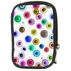 Colorful Concentric Circles              Compact Camera Leather Case by LalyLauraFLM