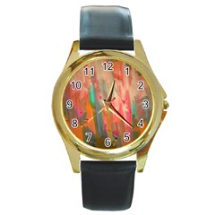 Painting              Round Gold Metal Watch
