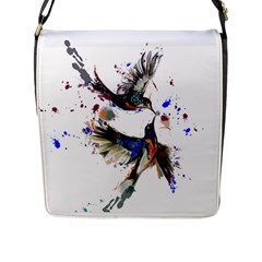 Colorful Love Birds Illustration With Splashes Of Paint Flap Messenger Bag (l)  by TastefulDesigns