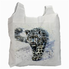 Snow Leopard 1 Recycle Bag (two Side)  by kostart