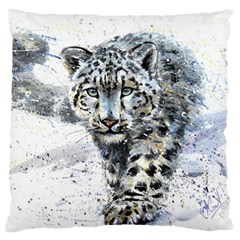 Snow Leopard 1 Large Flano Cushion Case (two Sides) by kostart