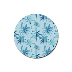 Watercolor Palms Pattern  Rubber Round Coaster (4 Pack)  by TastefulDesigns