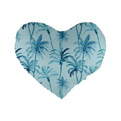 Watercolor Palms Pattern  Standard 16  Premium Flano Heart Shape Cushions by TastefulDesigns
