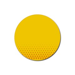 Yellow Star Light Space Rubber Coaster (round)  by Mariart