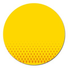 Yellow Star Light Space Magnet 5  (round) by Mariart