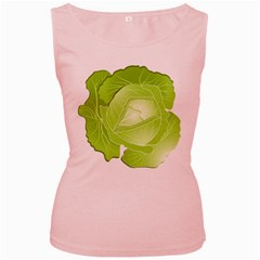 Cabbage Leaf Vegetable Green Women s Pink Tank Top by Mariart