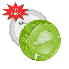 Cabbage Leaf Vegetable Green 2 25  Buttons (10 Pack)  by Mariart