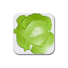 Cabbage Leaf Vegetable Green Rubber Square Coaster (4 Pack)  by Mariart