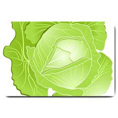 Cabbage Leaf Vegetable Green Large Doormat  by Mariart