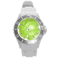 Cabbage Leaf Vegetable Green Round Plastic Sport Watch (l) by Mariart