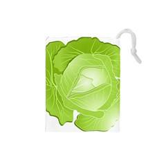 Cabbage Leaf Vegetable Green Drawstring Pouches (small)  by Mariart