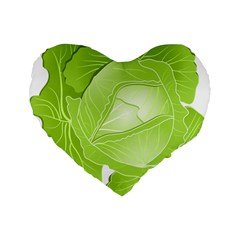 Cabbage Leaf Vegetable Green Standard 16  Premium Flano Heart Shape Cushions by Mariart
