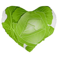 Cabbage Leaf Vegetable Green Large 19  Premium Flano Heart Shape Cushions by Mariart