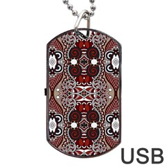 Batik Fabric Dog Tag Usb Flash (one Side) by Mariart