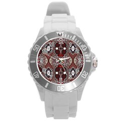 Batik Fabric Round Plastic Sport Watch (l) by Mariart