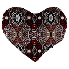Batik Fabric Large 19  Premium Flano Heart Shape Cushions by Mariart