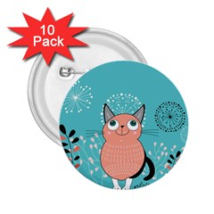 Cat Face Mask Smile Cute Leaf Flower Floral 2 25  Buttons (10 Pack)