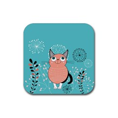 Cat Face Mask Smile Cute Leaf Flower Floral Rubber Square Coaster (4 Pack)  by Mariart
