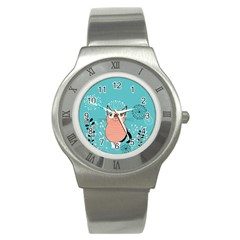 Cat Face Mask Smile Cute Leaf Flower Floral Stainless Steel Watch by Mariart