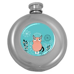 Cat Face Mask Smile Cute Leaf Flower Floral Round Hip Flask (5 Oz) by Mariart