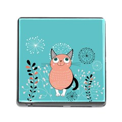 Cat Face Mask Smile Cute Leaf Flower Floral Memory Card Reader (square) by Mariart