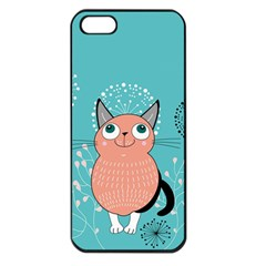 Cat Face Mask Smile Cute Leaf Flower Floral Apple Iphone 5 Seamless Case (black) by Mariart