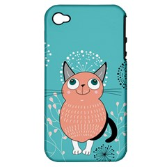 Cat Face Mask Smile Cute Leaf Flower Floral Apple Iphone 4/4s Hardshell Case (pc+silicone) by Mariart