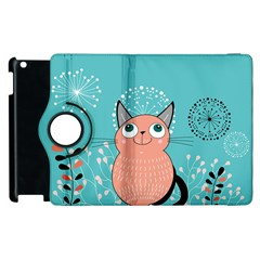 Cat Face Mask Smile Cute Leaf Flower Floral Apple Ipad 3/4 Flip 360 Case by Mariart