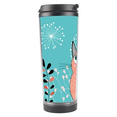 Cat Face Mask Smile Cute Leaf Flower Floral Travel Tumbler by Mariart