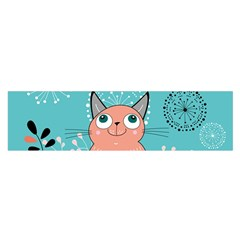 Cat Face Mask Smile Cute Leaf Flower Floral Satin Scarf (oblong) by Mariart