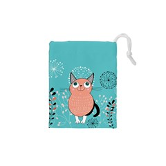 Cat Face Mask Smile Cute Leaf Flower Floral Drawstring Pouches (xs)  by Mariart
