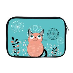 Cat Face Mask Smile Cute Leaf Flower Floral Apple Macbook Pro 17  Zipper Case by Mariart