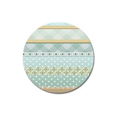 Circle Polka Plaid Triangle Gold Blue Flower Floral Star Magnet 3  (round)
