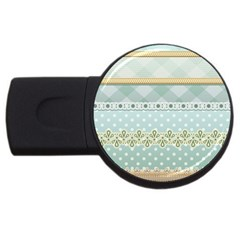 Circle Polka Plaid Triangle Gold Blue Flower Floral Star Usb Flash Drive Round (2 Gb) by Mariart
