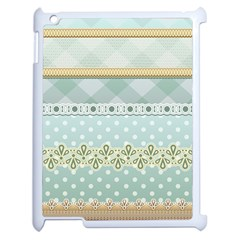 Circle Polka Plaid Triangle Gold Blue Flower Floral Star Apple Ipad 2 Case (white) by Mariart