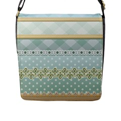 Circle Polka Plaid Triangle Gold Blue Flower Floral Star Flap Messenger Bag (l)  by Mariart