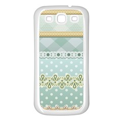 Circle Polka Plaid Triangle Gold Blue Flower Floral Star Samsung Galaxy S3 Back Case (white) by Mariart