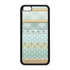 Circle Polka Plaid Triangle Gold Blue Flower Floral Star Apple Iphone 5c Seamless Case (black) by Mariart