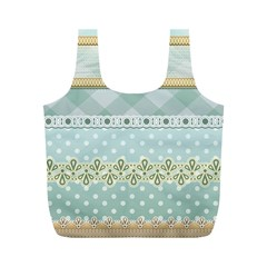 Circle Polka Plaid Triangle Gold Blue Flower Floral Star Full Print Recycle Bags (m)  by Mariart