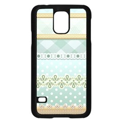 Circle Polka Plaid Triangle Gold Blue Flower Floral Star Samsung Galaxy S5 Case (black) by Mariart