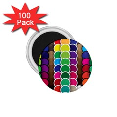 Circle Round Yellow Green Blue Purple Brown Orange Pink 1 75  Magnets (100 Pack)  by Mariart
