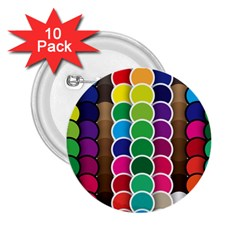 Circle Round Yellow Green Blue Purple Brown Orange Pink 2 25  Buttons (10 Pack)