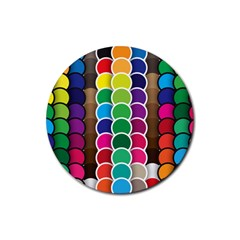 Circle Round Yellow Green Blue Purple Brown Orange Pink Rubber Coaster (round)  by Mariart