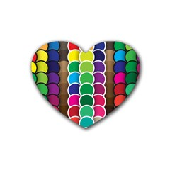 Circle Round Yellow Green Blue Purple Brown Orange Pink Heart Coaster (4 Pack)  by Mariart
