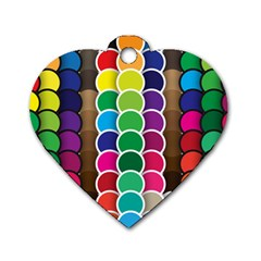 Circle Round Yellow Green Blue Purple Brown Orange Pink Dog Tag Heart (one Side) by Mariart