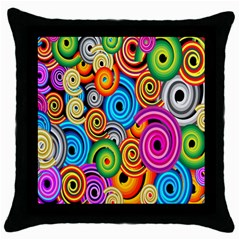 Circle Round Hole Rainbow Throw Pillow Case (black) by Mariart